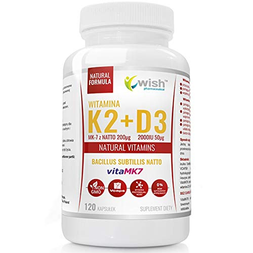 Wish Pharmaceutical Vitamin K2 VitaMk-7 + D3 Paquete de 1 x 120 Cápsulas - Coleolinciferol de Lanolina – De Natto con Prebiótico