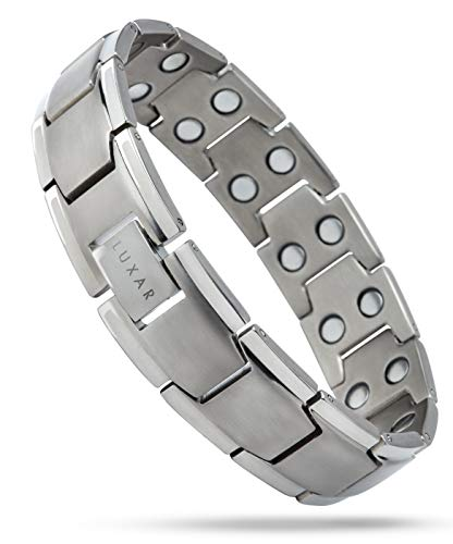 Men's Titanium Magnetic Therapy Linked Bracelet | LUXAR Double Magnet Strength | Designed for Arthritis, Tendonitis, Tennis/Golf Elbow, Carpal Tunnel Syndrome, Physical Pain Relief (Brushed Titanium)
