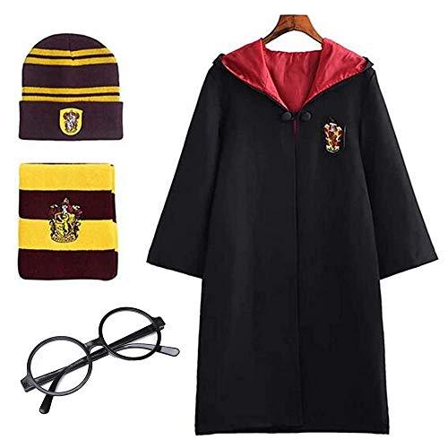 Deciduous Harry Kinder-Kostüm Unisex Gryffindor-Mantel-Kap-Hut Schal Karneval Verkleidung Halloween-Jungen-Mädchen Magische Robe Wizard Schuluniform Outfit,115