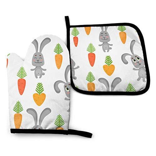 N\A Pascua Conejos Lindos Zanahorias Manoplas para Horno ollas con Resistencia al Calor para Hornear cocinar Barbacoa