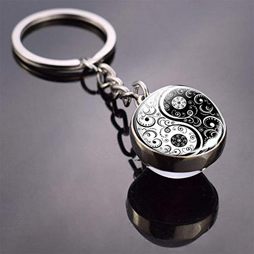 CCYUANG Schlüsselbund Yin Yang Schlüsselbund Yin Yang Baum des Lebens Doppelseitiger Glaskugel Schlüsselbund Yin Yang Katzenschlüsselring | Schlüsselanhänger |- AliExpress