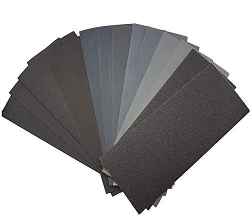 Yolococa Schleifpapier Set 120 bis 3000 Körnung Sortiment Trocken und Nass Sandpapier für Veredelung Auto, Holzmöbel, Stein, Lack, Metall, Glas, Stein 16 Stück