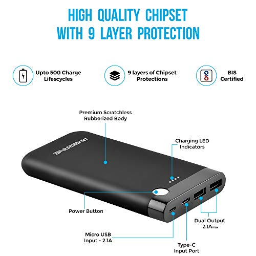 Ambrane 10000 mAH Lithium Polymer Power Bank with Micro/Type C Input for Android & iPhone (PP-11, Black) 2