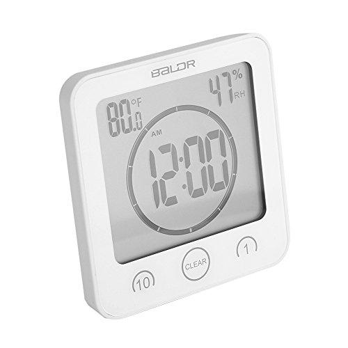 Parez Horloge Badkamer Timer met Zuignap Digitale Horloge Vochttemperatuur met Grote LCD Display Waterdichte Thermometer