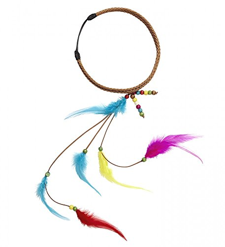 shoperama Diadema Hippie con plumas y perlas para disfraz de india