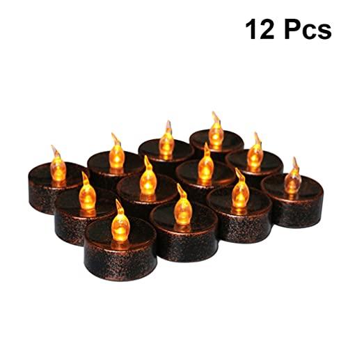 Lurrose Halloween Lampada Stringa di 6Pcs Elettronico a Lume di Candela del Partito della Lampada della Decorazione per La Festa di Nozze Guscio Nero Luce Gialla