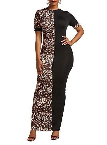 CORAFRITZ Vestido largo sexy de leopardo de manga corta para mujer