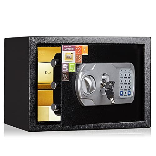 VIY Caja Fuerte de Seguridad Portátil con Cerradura Electrónica y 2 Llaves de Emergencia para Montaje en Pared o Suelo para Oficina o Uso doméstico 35x25x25 cm,B