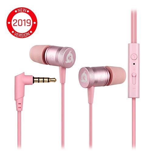 KLIM Fusion Audio Kopfhörer - Langlebig + Innovativ: In-Ear-Kopfhörer mit Memory Foam - Pink - Neue 2019 Version - 3,5mm Jack - Rosa Gold