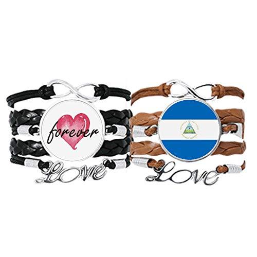 Bestchong Pulsera de mano de la bandera nacional de Nicaragua con correa de cuero para siempre el amor de América del Norte