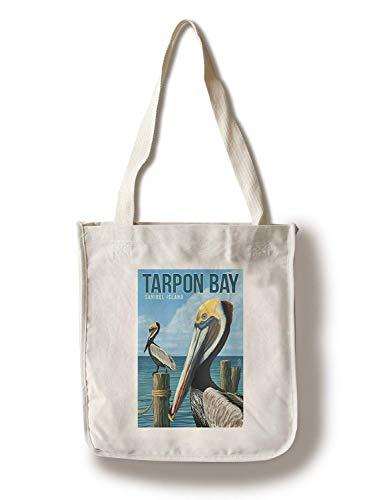Tarpon Bay, Florida Brown Pelicans Borsa in tela pieghevole per la spesa