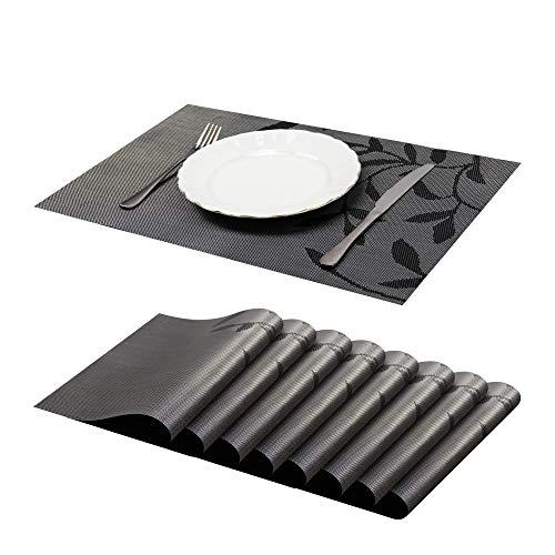 JJ JUJIN 45×30cm Set di 8 Tovagliette Americana Non-scivolose Lavabile in PVC Resistente al Calore Tovaglietta per Tavolo da Pranzo Nero