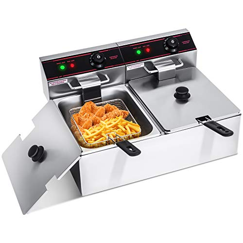 ARLIME 12.7QT Electric Countertop Deep Fryer 2-Basket Home Kitchen Commercial Restaurant With Stainless Steel Double Electric Fryer Basket and Temperature Control 5000W