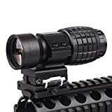 Luger Tactical 3X Magnifier Scope with Flip to Side 20mm Weaver Rail Mount Quick Detach for Hunting Shooting (Black)
