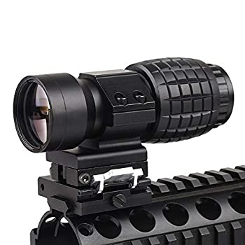 Luger Tactical 3X Magnifier Scope with Flip to Side 20mm Weaver Rail Mount Quick Detach for Hunting Shooting  Black