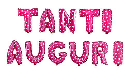 Vetrineinrete® Palloncini Tanti Auguri Scritta Gigante Decorazioni per Festa Party Festone Striscione per Compleanno onomastico Gonfiabile con Cannuccia Vari Colori (Rosa) M29