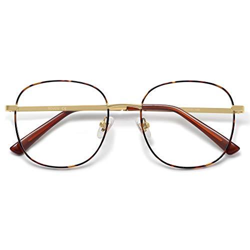 SOJOS Designer Women Blue Light Blocking Glasses Stylish Flat Eyewear AURORA SJ1137 with Tortoise Frame/Anti-Blue Light Lens