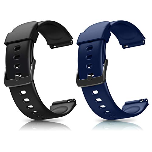 Letsfit ID205L Lot de 2 bracelets de rechange réglables pour montre intelligente ID205L Sport Watch Accessoires de rechange (noir + vert, noir + rose, noir + bleu, rose + violet)