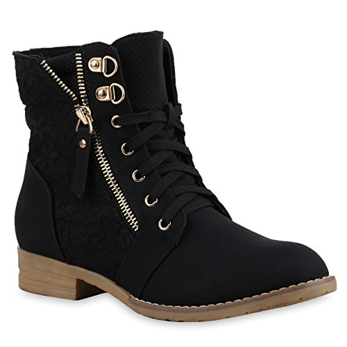 Stylische Damen Stiefeletten Worker Boots Knöchelhohe Stiefel Gesteppt Damen Leder-Optik Zipper Ketten Schuhe 134629 Schwarz 40 Flandell