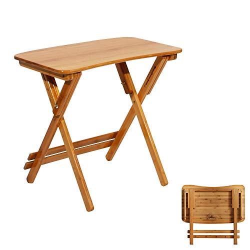 DlandHome Piccolo Tavolo da Pranzo Pieghevole per Esterni, Patio, Giardino, tavolino da caffè in Legno, 70 x 39 x 62-78 cm
