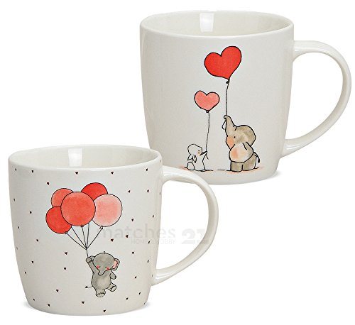 matches21 Kindertassen Kinder Tassen Becher Elefant & Hase & Luftballons 2er Set Porzellan je 9 cm hoch / 300 ml