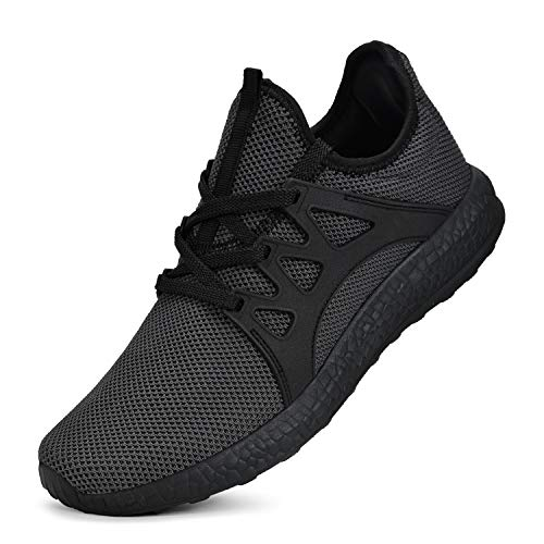Guteidee Mens Sneakers Gym Running Walking Sport Lightweight Breathable Mesh Casual Shoes Black Grey Size 11.5