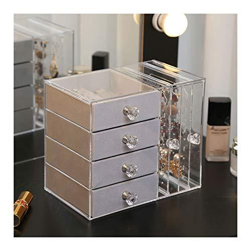 Caja de joyería Caja de joyería de acrílico transparente for mujeres con 4 cajones colgando pendiente de pendiente organizador de joyería for pendiente brazalete pulsera collar y anillos de almacenami