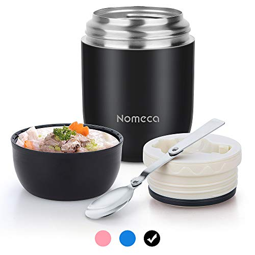 Keep Food Warm Lunch Container - Wide Mouth Hot Food Jar Lunch Box Nomeca 16Oz Stainless Steel Thermal food containers Vacuum Bento Box With Spoon for Kids Adult School Office Outdoor, Black