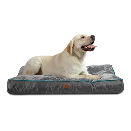 Bedsure Waterproof Dog Beds for Extra Large Dogs - Up to 100lbs XL Dog Bed with Removable Washable Cover, Pet Bed Mat Pillows, Grey