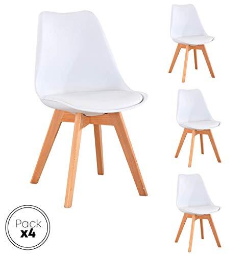 Beat Vintage-20 blanca Silla patas madera y asiento blanco con cojín estilo nórdico para comedor, cocina , balcón , terraza interior,habitación juvenil, dormitorio, hostelería. Pack de 4 Unidades