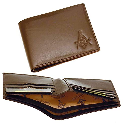 One Masonic Dark Brown leather Wallet with Masonic Compass and Square. Multiple pockets and ID compartments - wallet for Freemasons