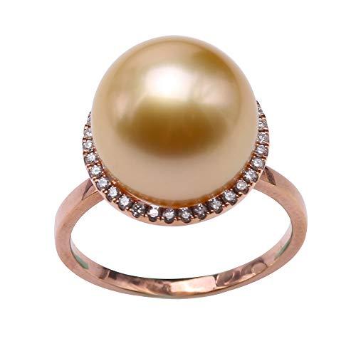 JYX Anillo de perlas de oro de 18 quilates AAA+ magnífico enorme 13.5 mm redondo genuino de oro cultivado en el Mar del Sur con diamantes para mujer