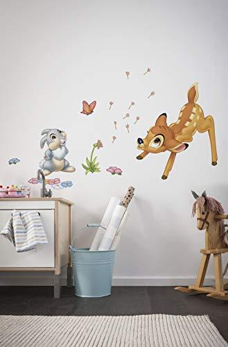 Komar Deco-Sticker Bambi, 1 Stück, Bunt, 14043h, 0,50 x 0,70 m, Tiere, REH, Haase, Kinderfilm, Wallsticker, Disney, Wandtattoo