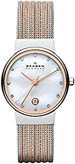 Skagen Women's Ancher Quartz Two-Tone Stainless Steel Mesh Dress Watch, Color: Silver and Rose Gold-Tone (Model: 355SSRS)