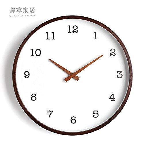 Horloge murale WuuLii décor - horloge murale en bois ronde blanche simple moderne - 12 pouces Horloge murale décorative d'horloge de quartz de non-coutil pour le salon, chambre à coucher, espace de bureau, 12 pouces -005