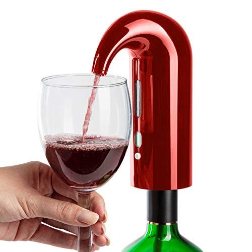 ONVAYA® Aireador de vino eléctrico y decantador de vino | decantador de vino | Dispensador de vino | Decantador rápido | Decantador de vino automático | Decantador de vino (1 pieza roja)