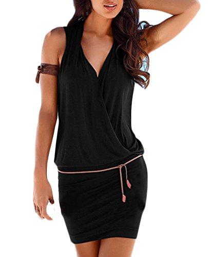 Donna Vestiti Eleganti Estivi Corti V Scollo Senza Maniche Vestito Mare Puro Colore Slim Casual Abito Mini Hawaiana Spiaggia Moda Plain Sportiva Abiti da Giorno Vestitini