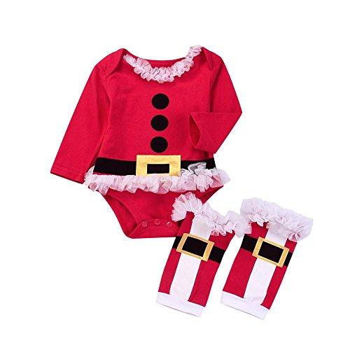 Culater 2017 Natale Newborn Baby Girl Xmas Abbigliamento Set Manica Lunga Babbo Natale Romper + Gamba più Caldo 2 PZ Abbigliamento Outfits