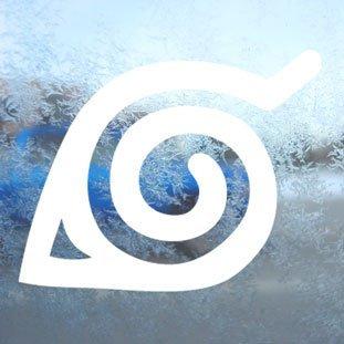 Motif naruto blanc leaf logo anime manga decal stickers de fenêtre blanc