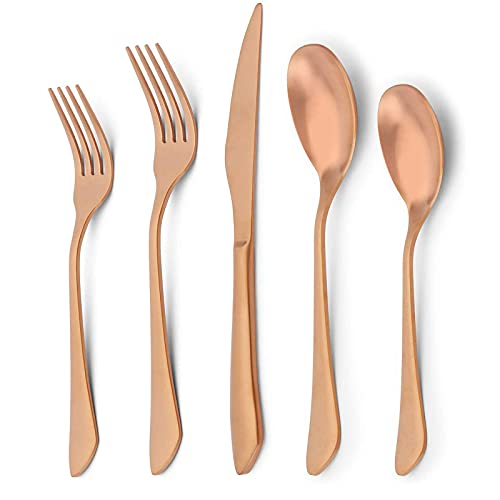 Juego de cubiertos de cobre mate para 4, 20 piezas Sistema de cubiertos de oro de rosa de acero inoxidable, moderno satinado Cubiertos de cocina Cubiertos de utensil