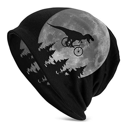 Comfort&products Gorro Unisex con diseño de Dinosaurio para Montar en Bicicleta a la Luna, con diseño de Calavera, Color Negro