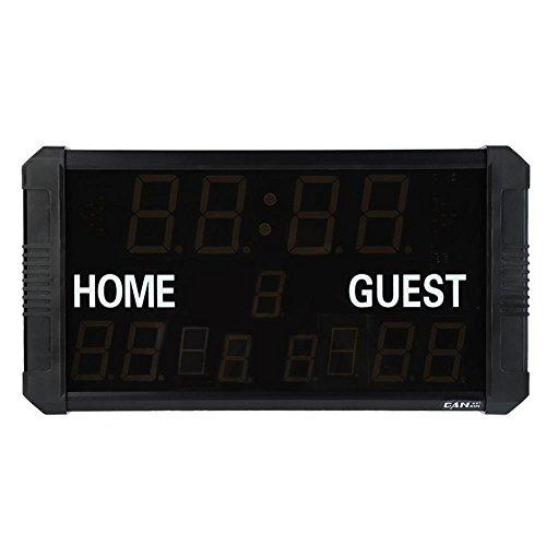 Elektronische Anzeigetafel, tragbarer LED-Anzeiger LED-Anzeigetafel für digitale Spiele im Freien mit Fernbedienung elektronisch Sportanzeigetafel für Basketball, Baseball, Badminton, Fußball(EU)
