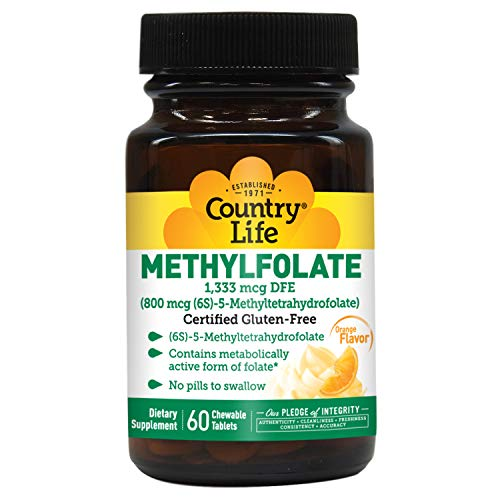 Methyl Folate Lozenges, 800 mcg, Supports Brain Health & Mood, Orange Flavor, 60 Chewable Tablets