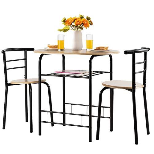 DREAMADE 3tlg. Essgruppe, Holz Esszimmer Set, Esstisch mit 2 Stühlen, Esszimmer Tisch Esszimmergruppe für 2 Personen zum Essen Trinken Lernen, ideal für Küche, Garten, Cafeteria, Bar (Schwarz)
