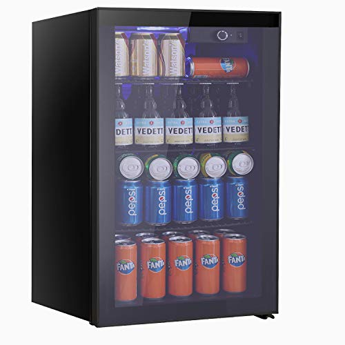 Beverage Refrigerator Cooler Wine Fride,113 Can or 60 Bottles Capacity with Smoky Gray Glass Door for Soda Beer or Wine,Compressor Touch Panel Digital Temperature Display (3.2 cu.ft)