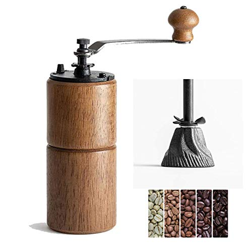 Akirakoki Manual Coffee Bean Grinder Wooden Mill with Cast Iron Burr