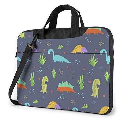 Mooi donkerblauw dinosaurus patroon voor kinderen laptop schoudertas met handgreep, die Messenger-handtas draagt