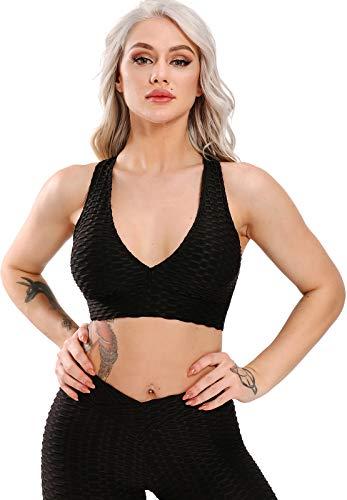STARBILD Soutien-Gorge de Sport Femme Bra Sportif Coussinets Amovibles Sans Armatures Dos Crossé Sous-vêtements Yoga Bustier Fitness Palestra