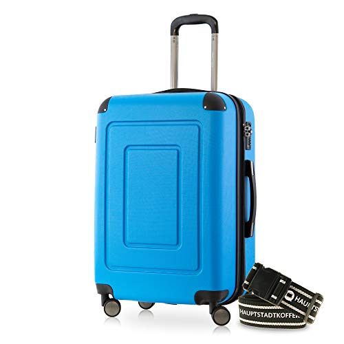 Happy Trolley - Lugano Hartschalen-Koffer Koffer Trolley Rollkoffer Reisekoffer Lugano, sehr leicht, TSA, 66 cm, 78L Cyan Blau +Gepäckgurt