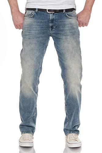 M.O.D Herren Jeans Thomas Comfort Mittelblau Regular Fit Stonewashed, Größe:W38 L32